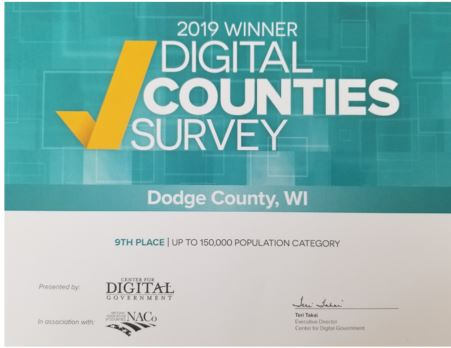 2019 Digital Counties Award for Dodge County