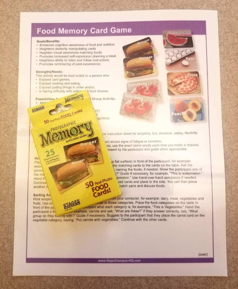 food memory card game for loan