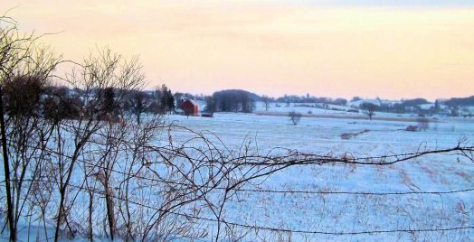 Winter Scene of Farm and Fence